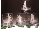Etched Golf Whiskey Glasses