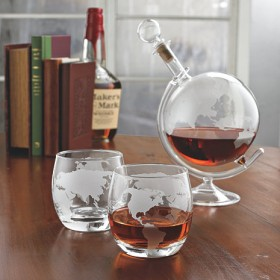 Globe Whiskey Decanter Set