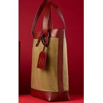 Leather and Waxed Canvas Wine Bag
