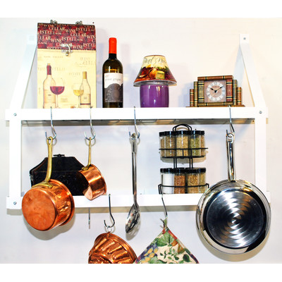 Pot Rack Gourmet Wall Mount | Double White Chrome